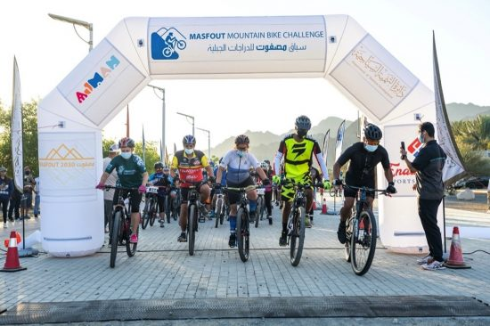 Hundreds of cyclists participated in the race at Masfout mountains